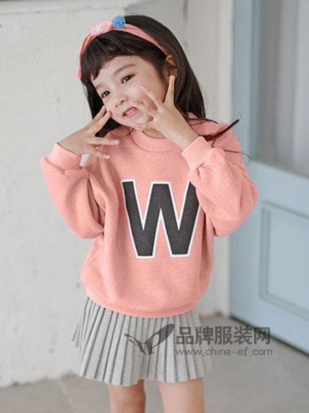 嘟呗童装品牌2019春季字母印花卫衣t恤
