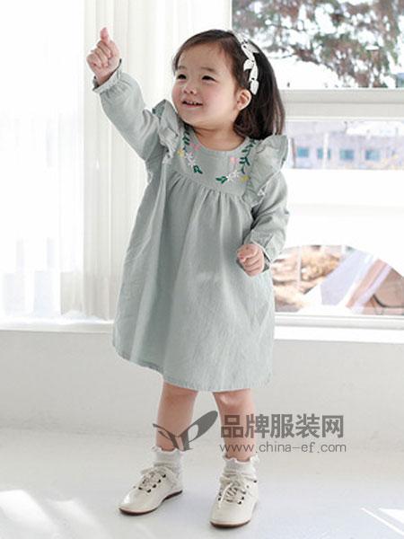 嘟呗童装品牌2019春季童裙潮流绣花女童连衣裙