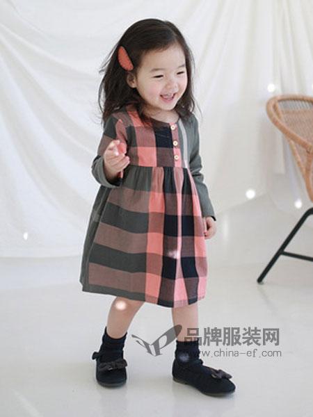 嘟呗童装品牌2019春季裙潮流格子女童连衣裙