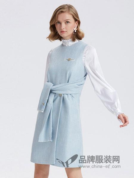 欧时力威廉希尔中文网品牌2019春季收腰修身中长款拼接裙子
