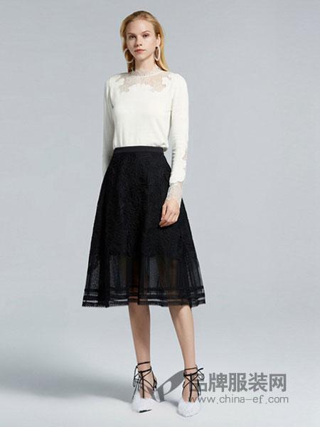 欧时力女装品牌2019春季新款韩版高领针织衫