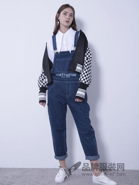 U&U女装品牌2019春季新品刺绣字母牛仔宽松休闲背带裤