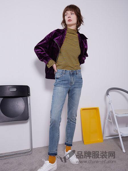 U&U女装品牌2019春季新款弹力显瘦九分牛仔小脚裤