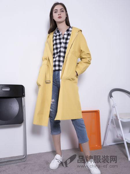U&U女装品牌2019春季西装领单排扣长款直筒长袖大衣外套潮