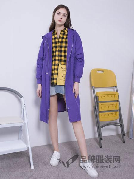 U&U女装品牌2019春季新款简约优雅直筒拉链连帽紫色中长风衣