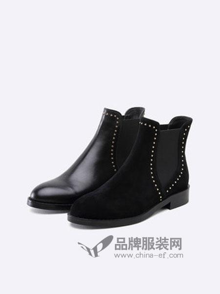 思加图鞋品牌2018秋冬牛皮加绒保暖切尔西靴子方跟复古女短靴