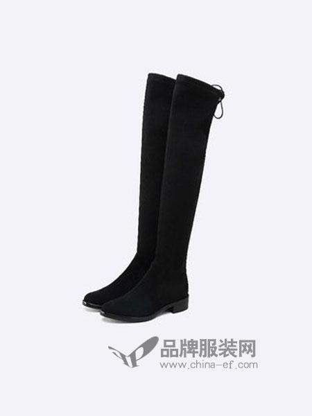 思加图鞋品牌2018秋冬加绒高筒弹力过膝瘦瘦靴女长靴子