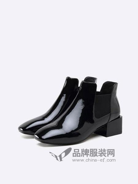 思加图鞋品牌2018秋冬牛皮英伦切尔西靴粗跟加绒女短筒靴子