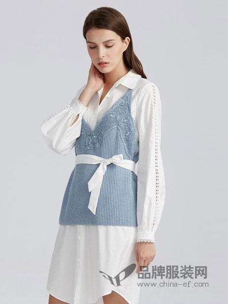 夺宝奇兵女装品牌2019春季长袖连衣裙两件套装中长衬衫裙纯棉宽松