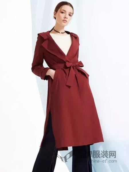 夺宝奇兵女装品牌2019春季修身显瘦系带连帽中长款风衣外套