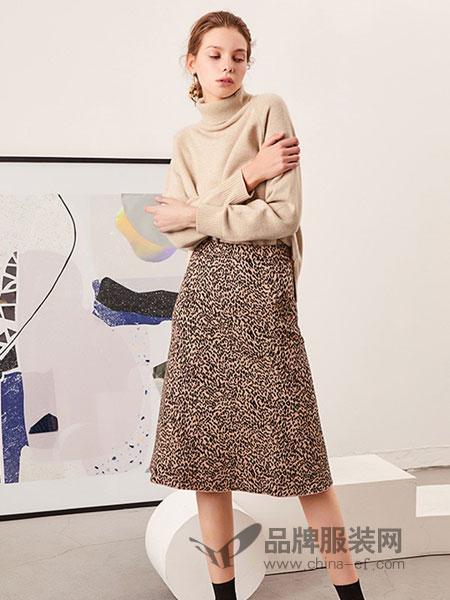 QS秸熙、卡蕊.安女装品牌2019春季图案羊毛线针织半身裙