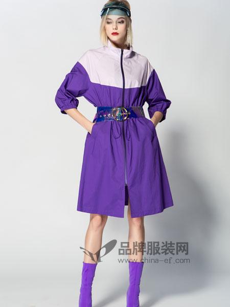 JA&EXUN女装品牌2019春季拼接时尚收腰连衣裙