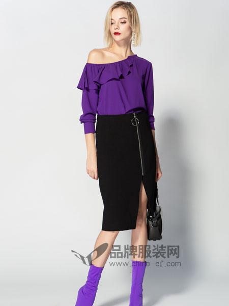 JA&EXUN女装品牌2019春季露肩花边上衣开叉半身裙