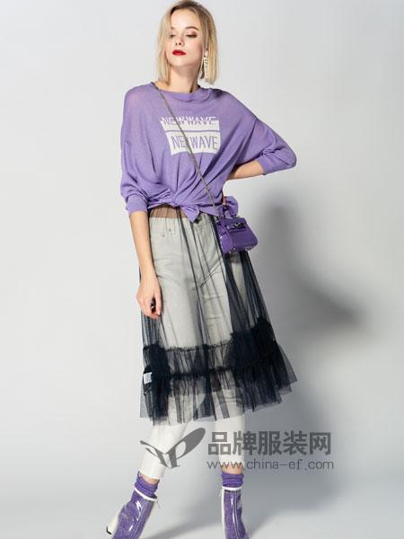 JA&EXUN女装品牌2019春季圆领针织薄款上衣拼接纱网