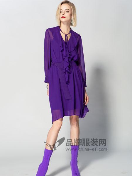 JA&EXUN女�b品牌2019春季花�V�I透��L袖�B衣裙