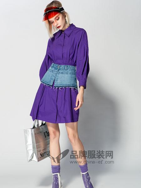 JA&EXUN女装品牌2019春季拼接牛仔长袖紫色连衣裙