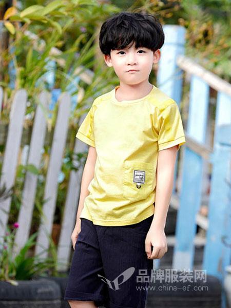 班吉鹿童装品牌2019春夏儿童短袖t恤男孩体恤中大童韩版潮纯色