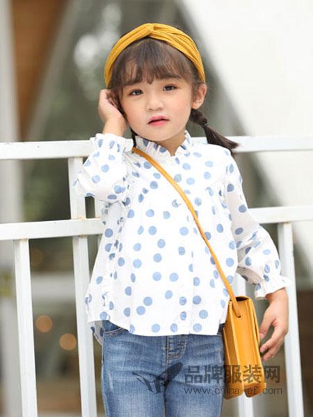 淘气贝贝童装品牌2019春季新款翻领圆点女童衬衣衬衫