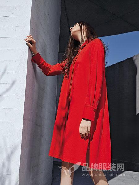 娅铂·周末女装品牌2019春季新款民族风刺绣网纱拼接长袖中长款打底裙