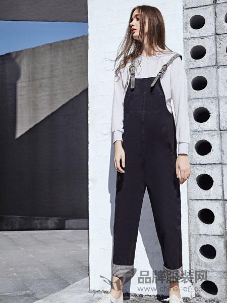 娅铂·周末女装品牌2019春季宽松显瘦高腰直筒连体裤九分裤