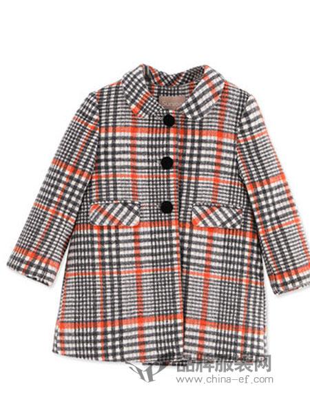 阳光鼠童装品牌2018秋冬羊毛格纹呢大衣婴幼内里保暖上衣