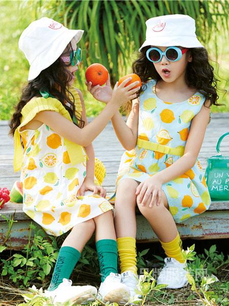 玛玛米雅童装品牌2019春夏小女孩公主裙 洋气印花无袖背心裙子