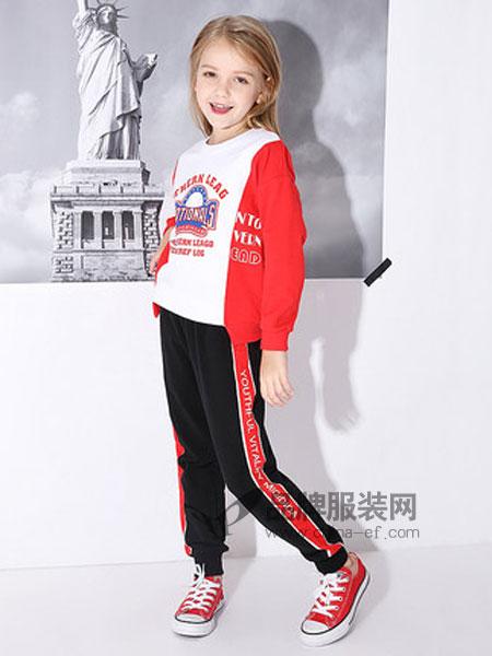 米奇丁当童装品牌2019春季洋气撞色卫衣两件套