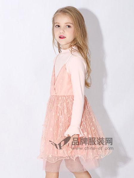 米奇丁当童装品牌2019春季中大童蓬蓬裙假两件裙子