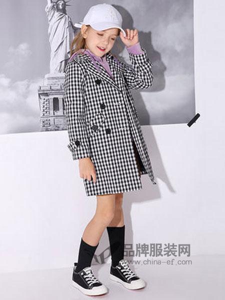 米奇丁当童装品牌2019春季中长款格子洋气外套