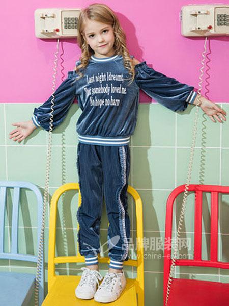 米奇丁当童装品牌2019春季中大童洋气花边漏肩两件套