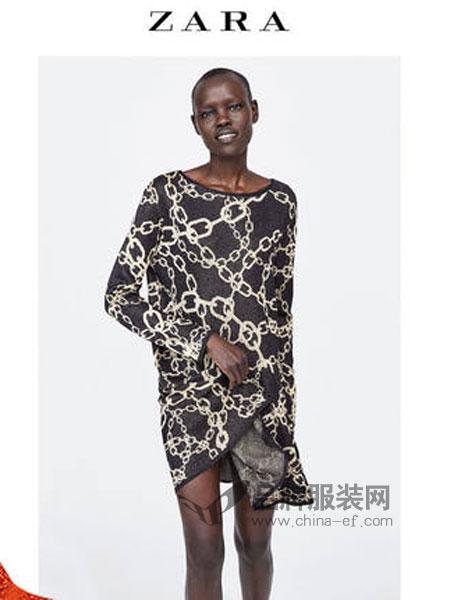 ZARA女装品牌2019春季 链条印花连衣裙
