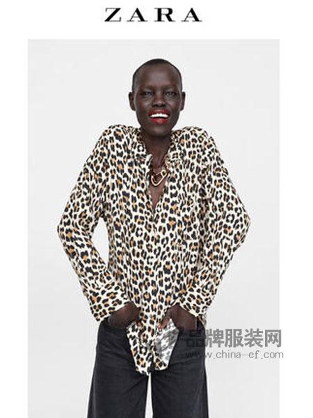 ZARA女装品牌2019春季动物纹印花衬衫