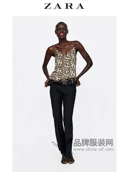 ZARA女装品牌2019春季动物斑纹印花内衣式上衣