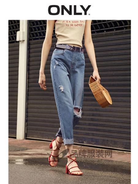 Only女装品牌2019春季高腰宽松直筒九分牛仔裤