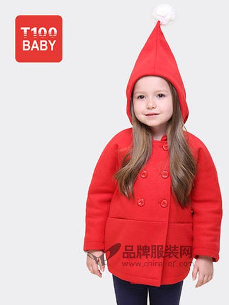 T100童装品牌2019春夏可爱魔法斗篷纯色毛呢大衣保暖圣诞红外套