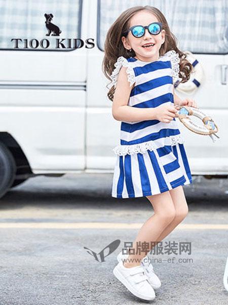 T100童装品牌2019春夏竖条纹花边连衣裙