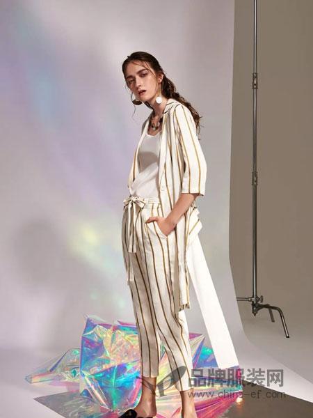 主章女装品牌2019春季棉麻质感高腰系带条纹休闲裤花苞裤