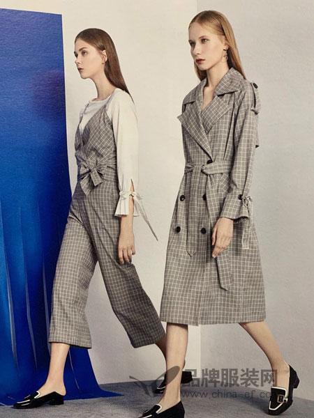 点占女装品牌2019春季新款时尚气质翻领长袖简章款腰带格子风衣外套