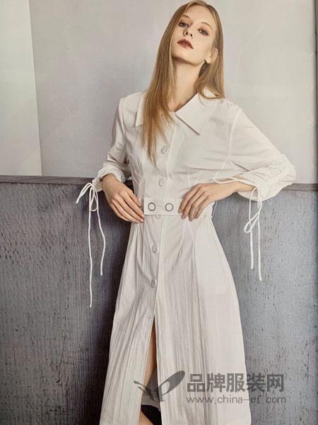 点占女装品牌2019春季新款中长款气质名媛条纹v领裙子收腰