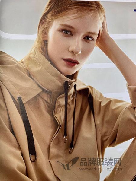 点占女装品牌2019春季大方扣腰饰防风袖口泡泡袖风衣
