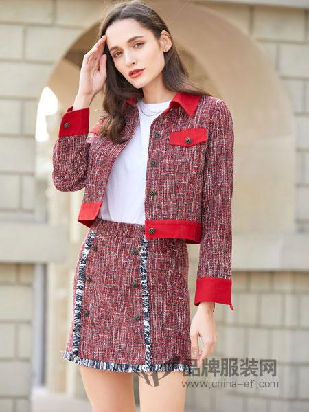 金蝶茜妮女装品牌2019春夏新款粗花呢修身显瘦洋气中长款