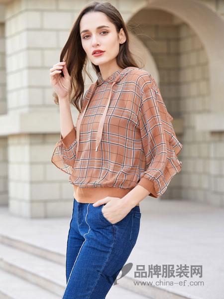 金蝶茜妮女装品牌2019春夏气质洋气小衫修身显瘦雪纺衫
