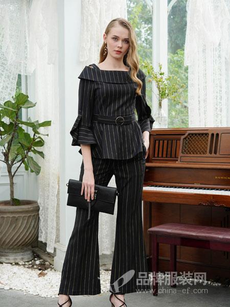 珈姿·莱尔女装品牌2019春季新款系带上衣+阔腿长裤