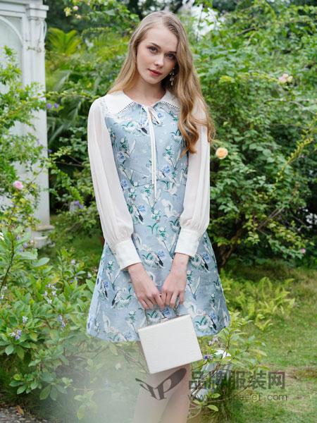 珈姿・莱尔女装品牌2019春季长袖雪纺拼接网纱绣花收腰包臀连衣裙