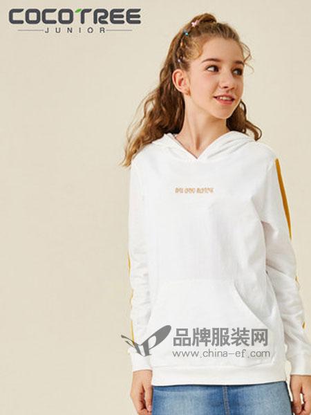 棵棵树少年服饰童装品牌2019春季撞色韩版套头衫连帽卫衣长袖T恤