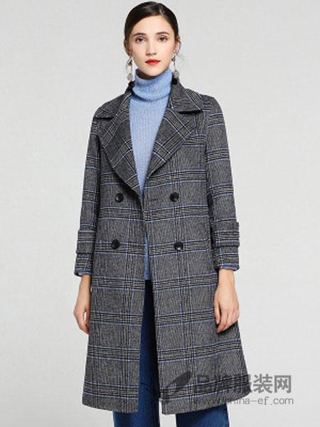 缇子TYZEE女装品牌2018冬季新款中长款双排扣翻领毛呢外套
