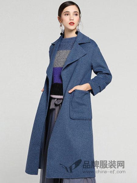 缇子TYZEE女装品牌2018冬季新款中长款收腰系带高端毛呢外套