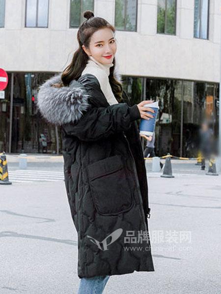 Han-e韩亦女装品牌2018秋冬洋气外套 宽松大码棉服