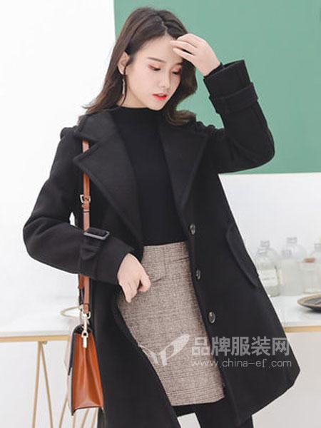 Han-e韩亦女装品牌2018秋冬毛呢大衣女大码女装遮肚子冬装毛衣外套
