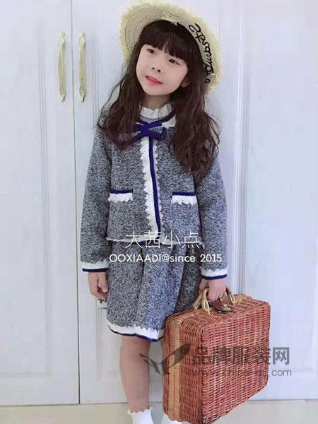 大茜小点童装品牌2018秋冬小香风短款毛呢外套